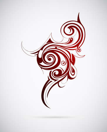 Polinesia ethnic tattoo. Spiral fire flames Illustration