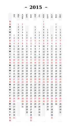 vertical calendar 2015