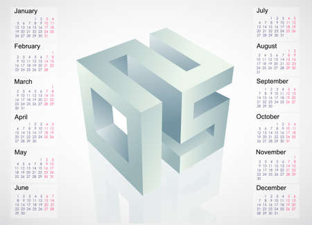 Calendar 2015 template design with 3D emblem. EPS-10 file Vector