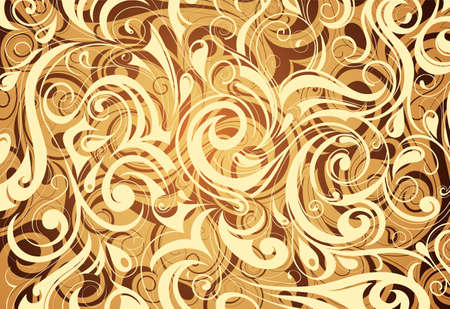 multilayer: Decorative wallpaper with floral swirls and multilayer effect