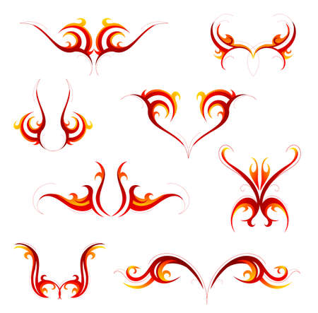 Set of fire flame tattoo emblems