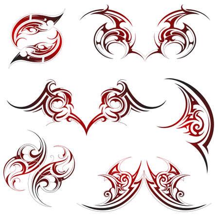 illustration for tribal tattoo set isolated on white Illustration