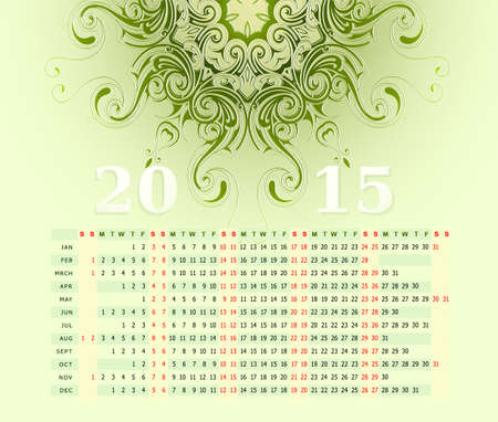 illustration with calendar for year 2015 with ornamental backdrop Vector