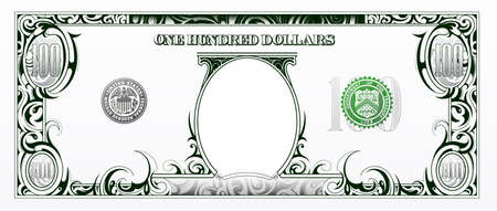 currency: Artistic one hundred dollar bill based on american currency