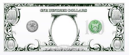 cuenta: Uno Art�stico billete de cien d�lares sobre la base de la moneda americana Vectores