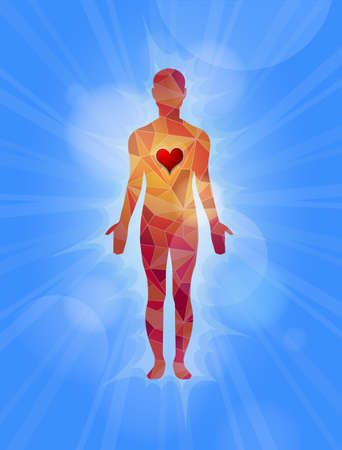 Concept illustration of human glowing from love.  Vector