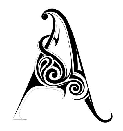 Decorative letter shape. Font A as emblem