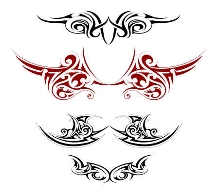 Set of various decorative wings tattoo designs
