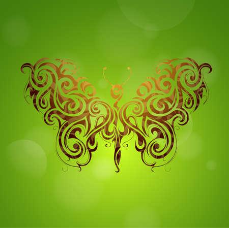 tatouage papillon: forme de tatouage de papillon avec des fus�es �clairantes.