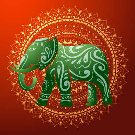 Vector illustration for elephant with decorative ornament Vector