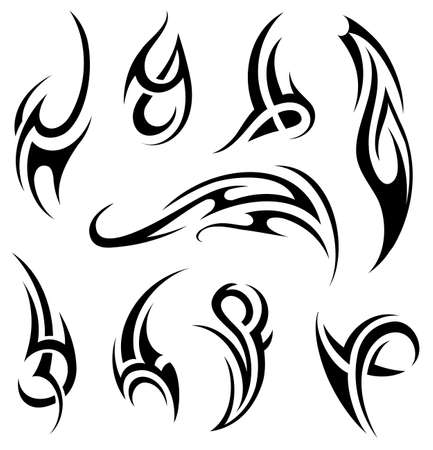 Vector illustration with tribal tattoo set isolated on white