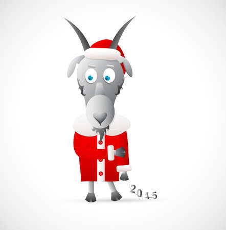 humble: Goat in Christmas dress as symbol for year 2015.