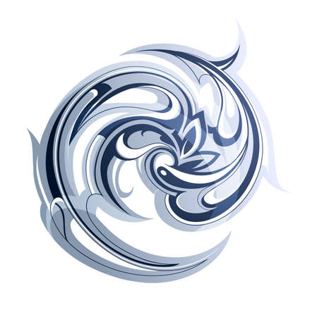 curl whirlpool: Artistic vector abstraction with water swirls. EPS-10
