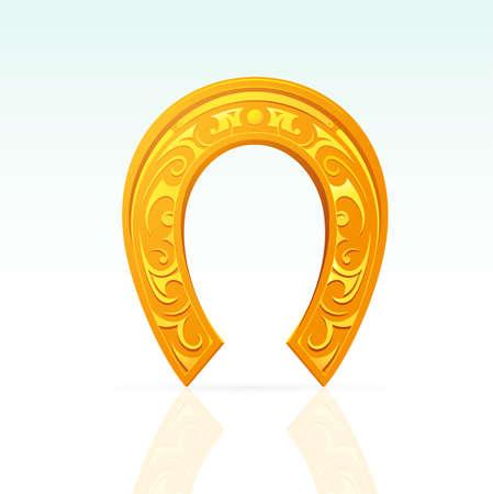 golden horseshoe: Lucky horseshoe with ornament as design element