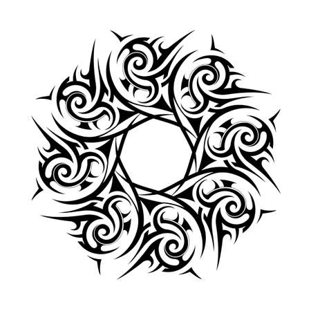 Tribal tattoo wrench as design element isolated on white