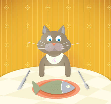 cat fish: Cartoon cat having a lunch.  Illustration