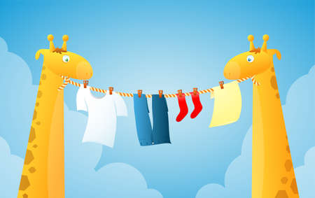 Two cute cartoon giraffes doing laundry Vector