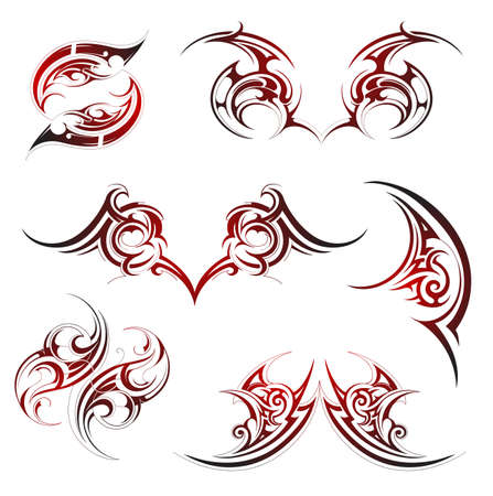 Tribal tattoo set with fire flame ornaments