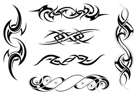 Vector illustration with set of tribal tattoo designs Stock Illustratie