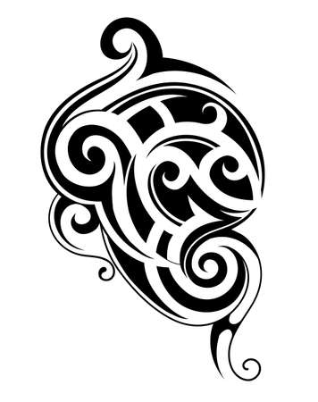 Vector illustration with tribal tattoo design. Maori origin