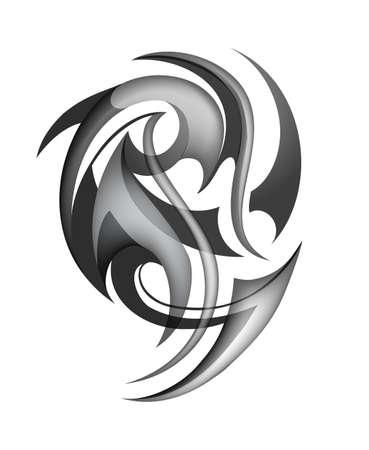 origin: Tribal tattoo design Maori ethnic origin. EPS-10 Illustration