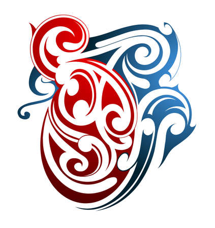fusion: Tribal art Maori origin. Two color shapes fusion