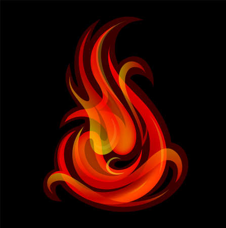 fuoco e fiamme: Artistic vector illustration with fire flames. EPS-10 Vettoriali