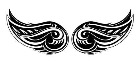 tatouage ange: Vector illustration avec des ailes de tatouage forme Illustration