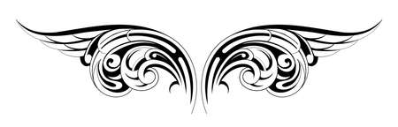 Vector illustration of tattoo wings with tribal ornament