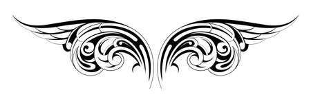 tatouage ange: Vector illustration d'ailes de tatouage avec l'ornement tribal