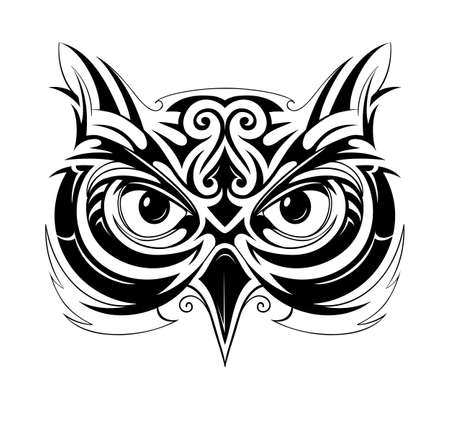owl symbol: Vector illustration with owl head tattoo sketch