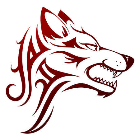 Vector illustration with wolf head tattoo