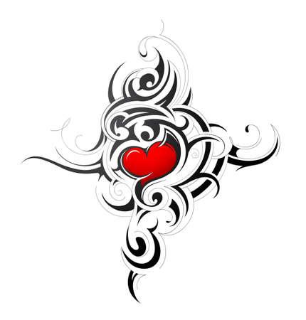 silhouette coeur: Vector illustration avec un design en forme de coeur de tatouage