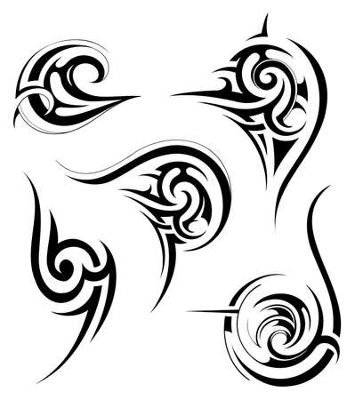 Vector illustration with tribal tattoo set. Maori origin