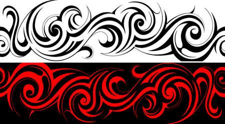 シームレスな部族タトゥー パターン ライン