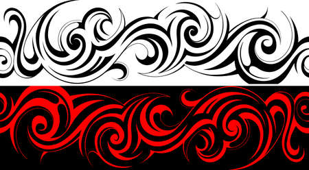 tattoo traditional: Seamless tribal linea tatuaggio modello Vettoriali