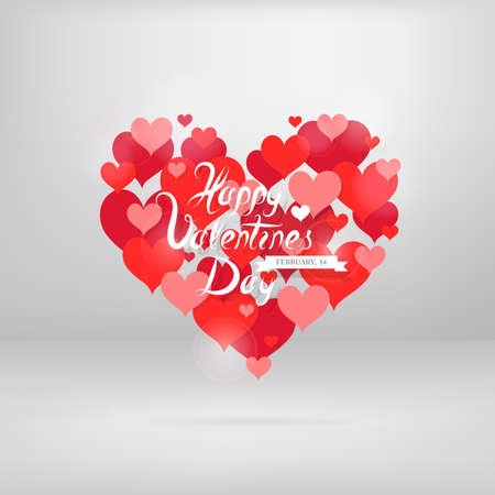 Heart shape shaped from planty of hearts. St. Valentines greeting card design. EPS-10 Illustration
