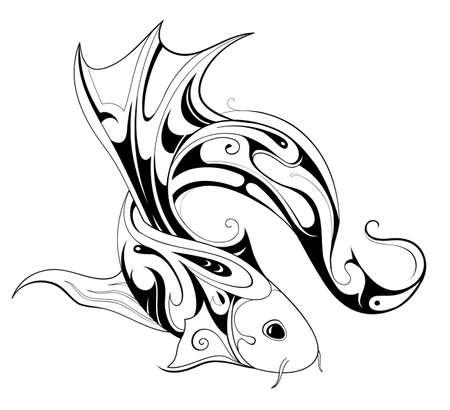 carpa: Dise�o del tatuaje de los pescados aislado en blanco Vectores