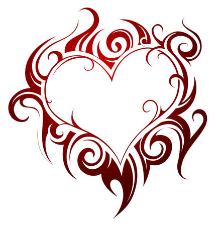 Heart shape tattoo with fire swirls Vectores