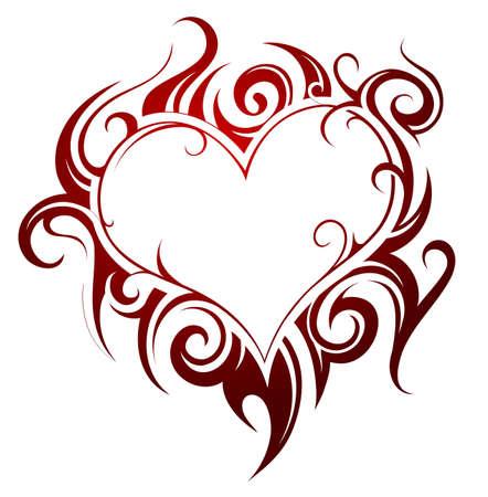 Heart shape tattoo with fire swirls Illustration