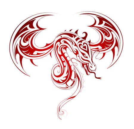 dragon illustration: Attack of the flying dragon tattoo shape