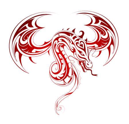 dragon tribal: Attaque de la forme de tatouage de dragon volant Illustration