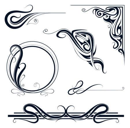アール ヌーボー様式の装飾的な要素とビンテージ フレーム セット