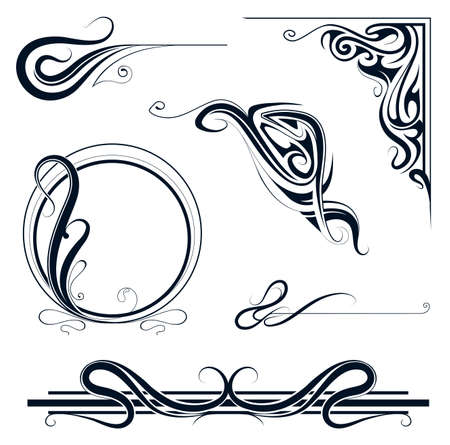 twirl: Decorative elements and vintage frame set in art nouveau style