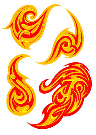 creative arts: Vector illustration with fire flame swirls set