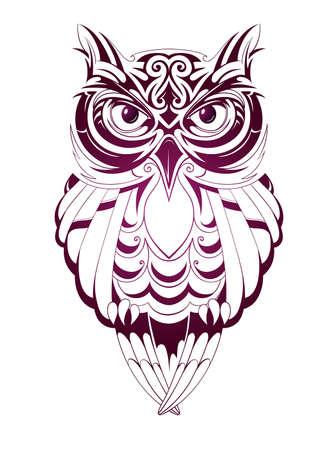 白で隔離されるフクロウ刺青を持つベクトル イラスト  イラスト・ベクター素材