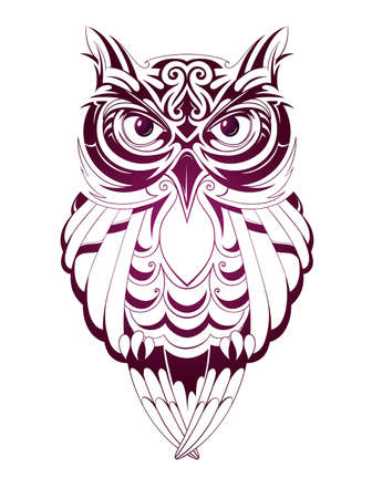 feathers: Vector illustration with owl tattoo isolated on white