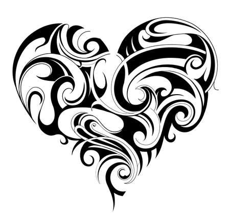 La forma del corazón del tatuaje del ornamento aislado en blanco