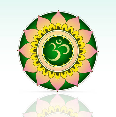 Indian sacred symbol Aum inside mandala shape Vector