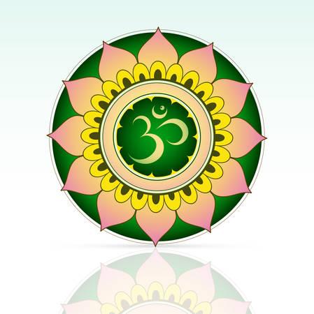 sanskrit: Indian sacred symbol Aum inside mandala shape
